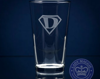 Super Dad Beer Pint Glass - Dad Beer Glass - Super Dad Pub Glass - Father's Day Gift - Gift for Dad - Super Dad Sand Carved Pint Beer Glass