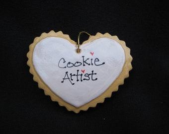 2 Heart Cookie-like Christmas Ornaments