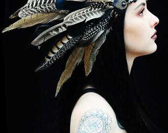 Flying Heads Dark Fairy headband, Dark Queen Feather headpiece, Dark Amazon Feather headdress, Earth color Tribal feather headpiece