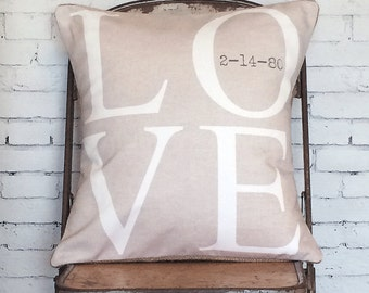 Pillow Cover, Wedding Gift, Personalized Pillow, Cotton Anniversary Gift LOVE