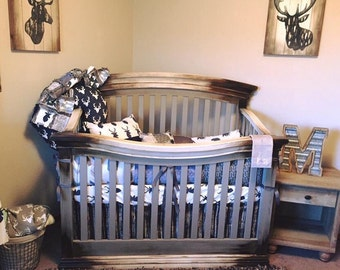WILD LAKE Nursery Collection - Rustic Crib Bedding, Deer Baby Bedding, Bear Crib Bedding, Rustic Woodland Nursery, Fishing Crib Bedding