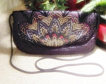 Vintage 1980s Hand Beaded Purse With Black Cord Handle