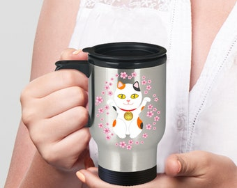 Lucky cat travel mug - calico maneki neko mug for good luck