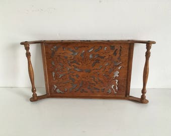 Ornate Pierced Decorative Wood Carved Tray