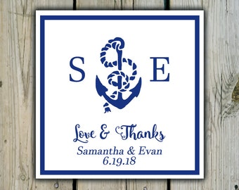 Square Custom Beach Anchor Favor Labels / Stickers - Personalized Anchor Wedding Favor Stickers / Shower Labels - Beach Wedding Stickers