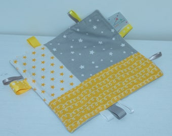 Plush yellow, gray and white labels so soft!