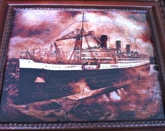 Vintage Framed Print of Queen Mary Ocean Liner/Ocean Liner RMS Queen Mary/Queen Mary Liner/Nautical Ship Picture/Vintage Framed Ship Print