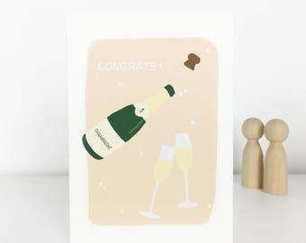 champagne congratulations illustrated postcard