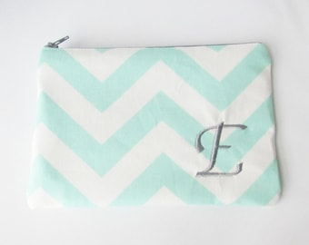 Monogram Make up Bag - E pouch - Ready to Ship - Bridesmaid Makeup bag - Cosmetic bag - Make up Clutch - Monogrammed Gift - Medium