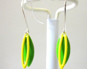 Lemon And Lime Earrings Green And Yellow Enamel