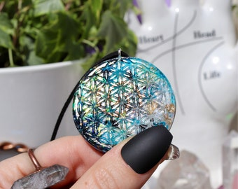 Orgonite® - Orgonite® Pendant - Flower of Life - Necklace - Handmade - Orgone Generator® - Crystals - Gift - EMF Protection - HoodXHippie