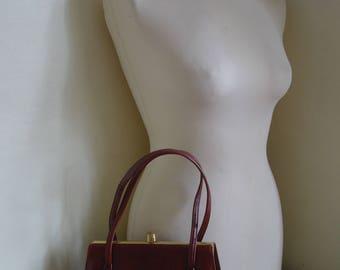 Vintage Warm Brown Leather Kelly Style Handbag, Work Bag, Shoulder Bag, Top Handle - John Farmer