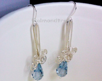 sale Grey blue | dangle | earrings | handmade | wire wrapped | jewelry | id1330180 | jewellery | wire wrapped | gift for her | gift idea |