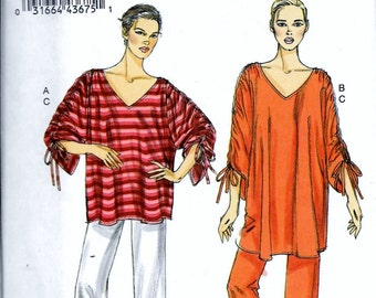 Vogue V8698 Boho V-Neck Pullover Tunic Top & Pull-on Pants Sewing Pattern Size Xs, S, M