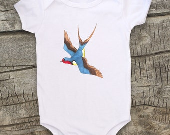 Cute baby bodysuit, Unique baby clothes, Baby one piece, Baby bird, Rockabilly baby, Barn Swallow, Sailing, Navy, Sailor