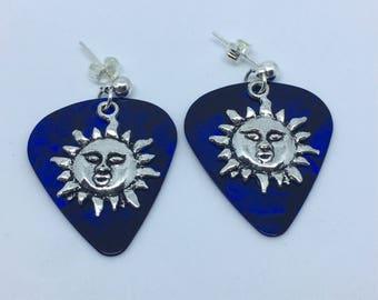 Sun Earrings - plectrum earrings - plectrum jewellery - blue plectrums - dark blue earrings stud earrings - alternative earrings - guitarist