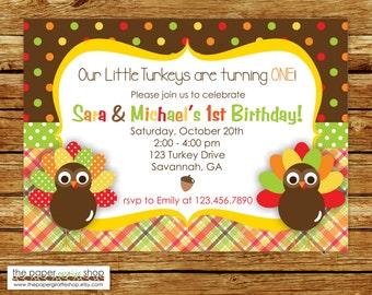 Our Little Turkeys Birthday (TWINS) Invitation | Thanksgiving Birthday Invitation | Our Little Turkeys Birthday Invite | Twins Birthday