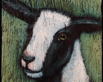 Goat Painting on Weathered Plywood
