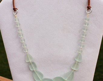 Hand Knotted Seafoam Green Cultured Glass Necklace - Beach Glass Jewelry - Recycled Glass Jewelry, Beach Boho, Sea Glass Necklace