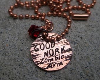 Good work Zombie Arm - Hand Stamped Whedon Cabin in the Woods Necklace