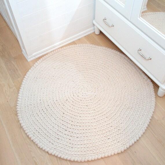 Runder Teppich Häkeln Wolle Beige Haferflocken häkeln runden
