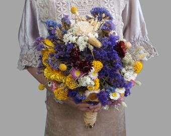 Large Wedding Bouquet Lavender Bridal Bouquet Rustic Bouquet Sola Flower Bouquet Yellow dried flowers wild flowers Romantic weddings
