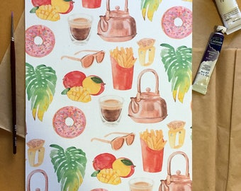 Friday Essentials Pattern Print with Watercolour Illustrations of Donuts Fries Mango Coffee and Monstera Leaves
