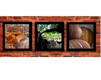 Set of 3 Wine Prints or Ready to Hang Canvas- Home or Work Space Wall Art- Kitchen decor