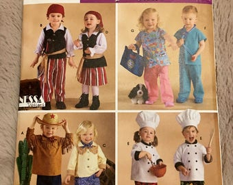 Simplicity Childrens  Costumes chef western pirate doctor boys girls Sewing Pattern size 1/2 1 2 3 4  #3650 UC Uncut FF