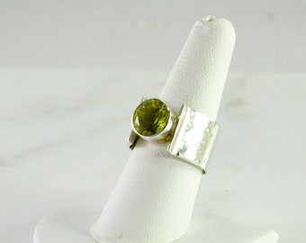 Big Wide Green Stone Sterling Ring Size 8
