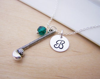 Golf Club Charm Swarovski Birthstone Initial Personalized Sterling Silver Necklace / Gift for Her