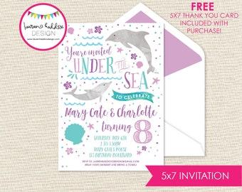 Dolphin Birthday Invitation, Pool Party Invitation, Under the Sea Invitation, Dolphin Decorations, Swim Party Invite, Lauren Haddox Designs