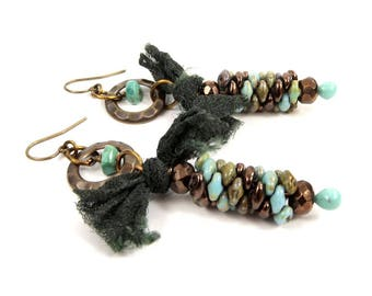 Southwestern Style Statement Earrings, Bohemian Jewelry with Real Turquoise