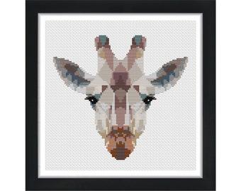 Geometric Giraffe  - Low Poly Art - Counted Cross Stitch Kit