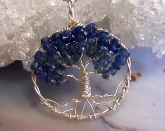 Sapphire Tree of Life necklace - Genuine Sapphire gemstone Sterling Silver Tree of Life pendant - September birthday birthstone