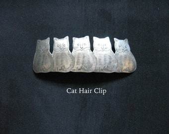 Silver Cat Hair Barrette Clip Kittens Vintage Cat Lover Gift