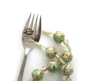 Seafoam golden greens beaded necklace with paper beads /  GENEVIEVE // ooak