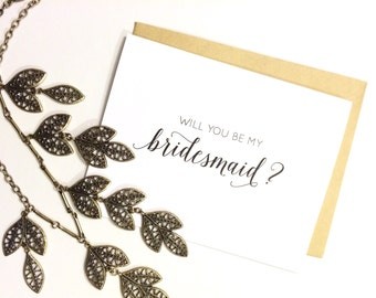 Card - Will You Be My Bridesmaid? | Wedding Party Card, Wedding Card, Bridesmaid Card, Calligraphy