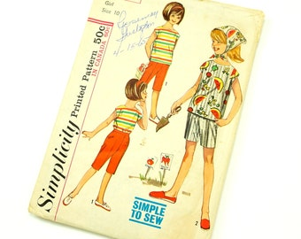 Vintage 1960s Girls Size 10 Blouse Scarf Pants Shorts Simplicity Sewing Pattern 5466 Complete / b28 w24 / Summer Beach Resort Wear