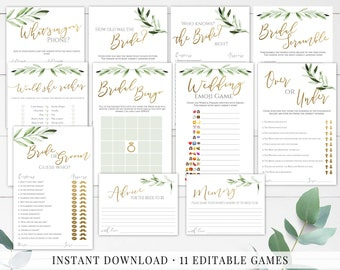 Bridal Shower Games Bundle greenery shower wedding shower game editable printable game Bridal Games gold bridal shower bridal shower decor