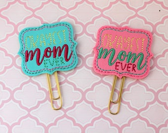 Okayest Mom Ever vinyl planner paperclip, Okayest Mom bookmark, Choice of Okayest Mom vinyl planner paperclip, planner paperclip accessories