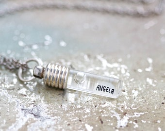 Angela Necklace - Little Glass vial With Name Written on A Grain of Rice
