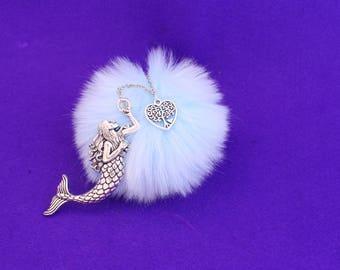 Mermaid keychain / pom pom keychain / mermaid bag charm