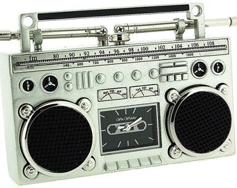 Miniature Silver Ghetto Blaster / Stereo Novelty Desktop Collectors Clock 9863
