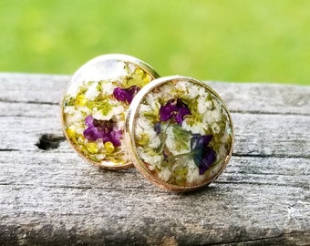 Real Flower Earring Studs - Rose Gold, boho jewelry, earring posts, nature, terrarium, bohemian, silver, petals, floral, botanical, gift