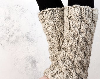 Cable Knit Leg Warmers Knitting Pattern - MAJESTY - a set of INSTRUCTIONS to knit the leg warmers