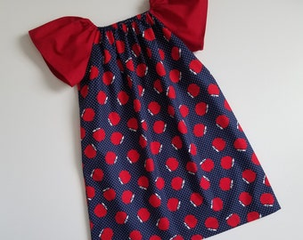 Girls Dress with Apples Peasant Dress with Sleeves Flutter Sleeve Dress for School Dresses with Apples Back to School Dress for Girls