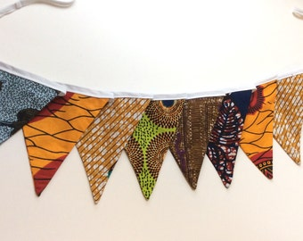 African Print Bunting, African Print Banner, Fabric Bunting, Colour Bunting, Party Bunting, Birthday Bunting, Wedding Bunting