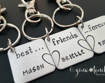 3 Best Friend Keychain, BFF KeyChain for 3, Best Friend Forever Gift, Personalized Keychain for Friends, Best Friends 3, Gift for Bestfriend