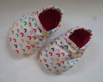 Valentine's Day Baby Booties, Baby Shoes, Baby Fabric Shoes, Baby Moccasins, Soft Baby Shoes, Soft-Soled Baby Shoes, Valentine's Day